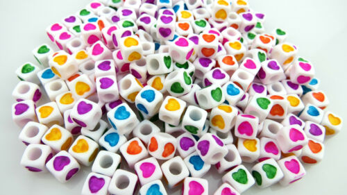 100PCS X 7MM ACRYLIC CUBE BEADS WITH HEART DESIGN JEWELLERY MAKING