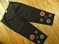 Bamboo Traders Black Beaded Cropped Stretch Pants Size 10