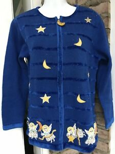 Details about Quacker Factory Christmas Sweater Cardigan Blue Angels  Holiday Size Small