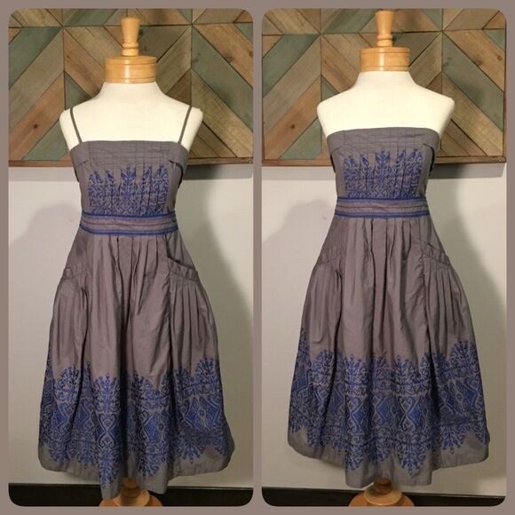 NEW FLOREAT ANTHROPOLOGIE SEWING CIRCLE DRESS SIZE 0  198 EMBROIDRED