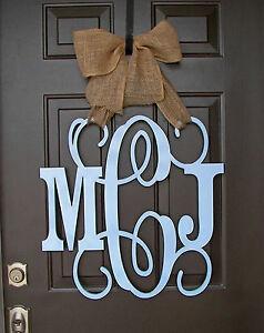 Image is loading Wooden-MONOGRAM-door-hanger-BLUE-custom-Initial-burlap- & Wooden MONOGRAM door hanger/BLUE custom Initial/burlap bow/decor ...