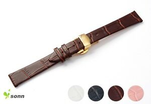 12-16mm-Lady-Croco-Grain-Leather-Gold-Push-Butterfly-Steel-Clasp-Watch-Strap
