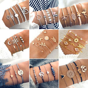 Multilayer-Natural-Stone-Crystal-Tassel-Bangle-Beaded-Bracelet-Fashion-Jewelry