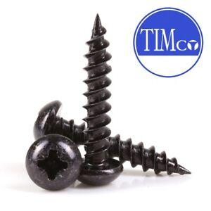 "25x TIMCO BLACK WOOD SCREWS 10G x 1.5/"" Blackjax Japanned Round Dome Head"