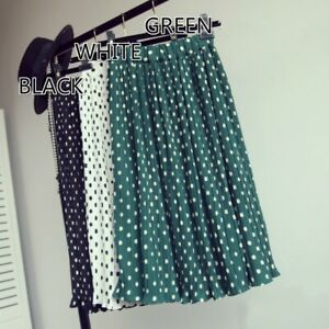 Lady-Pleated-Spotted-Skirt-Polka-Dots-Chiffon-Midi-Ruffle-Frilly-Retro-Fashion