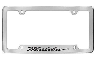 Chevrolet Malibu Script Bottom Chrome Plated Metal License Plate Frame Four Hole