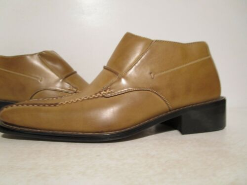 Majestic Collection Mens Leather Side Zip Ankle Dress Casual Shoe Taupe 9.5-12