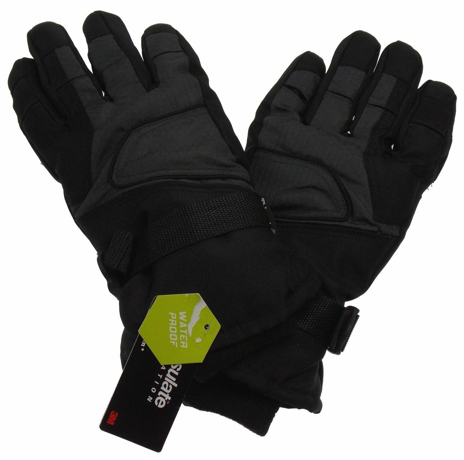 Athletech Mens Black Gray Ski Gloves 3M Thinsulate Insulation Waterproof M L XL