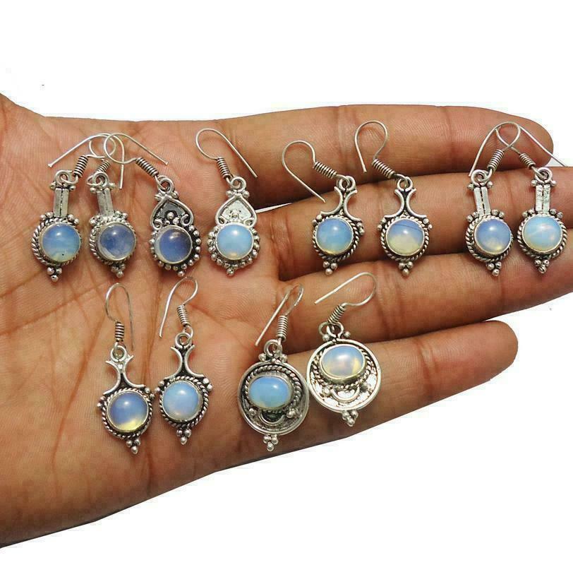Opalite Gemstone 925 Sterling Silver Plated 50Pair Earrings Lot HTFE98