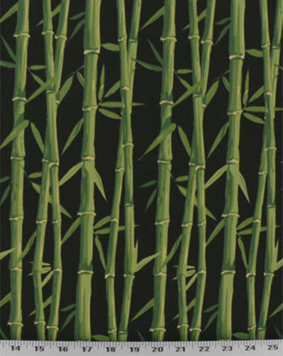 Drapery Upholstery Fabric IndoorOutdoor Tropical Bamboo Green Black