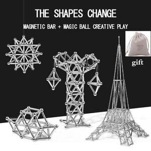 Educational Magnetic Steel Sticks 63-300pcs Metal Building Blocks Construction