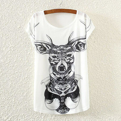 New Vintage Fashion Summer Women Short Sleeve Deer Print T Shirt Tops Tee Blouse