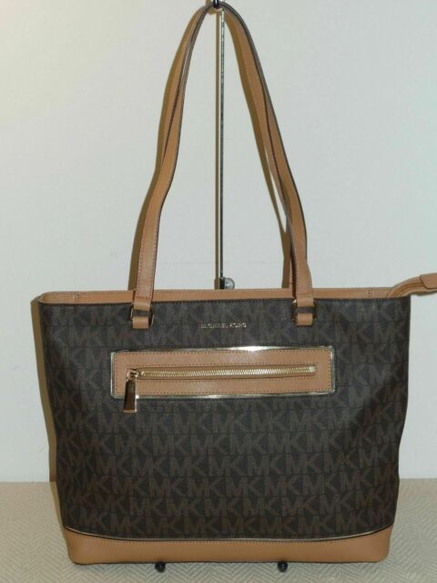 4e4684a651ab NWT Michael Kors Frame Out Item Large North South Tote Shoulder Bag Brown
