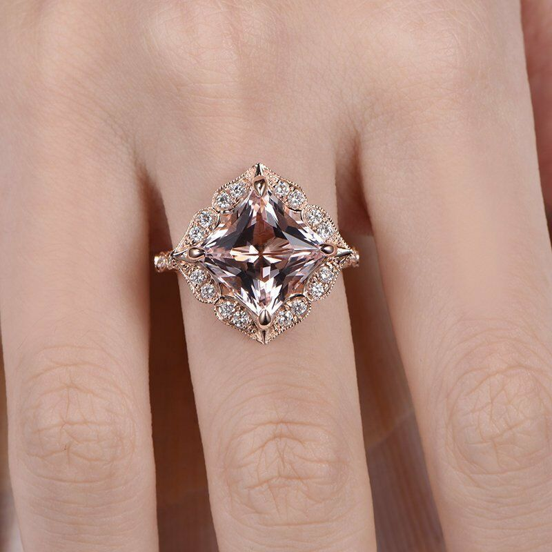 2ct Princess Cut Peach Morganite Halo Floral Engagement Ring 14k pinkgold Finish