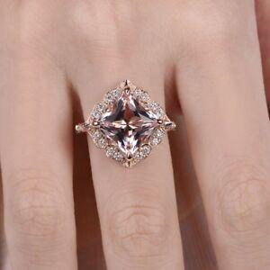 2ct-Princess-Cut-Peach-Morganite-Halo-Floral-Engagement-Ring-14k-RoseGold-Finish