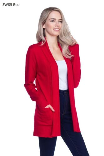 Women Cardigan Long Sleeve Solid Open Front Sweater Cardigan With Pocket S-XL