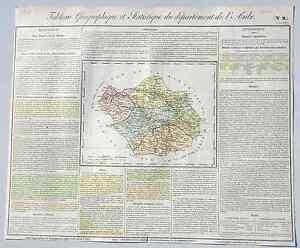 Nouvelle Mode Dépt 10 - Rare Carte Géographique & Statistique De L'aube Aquarellée De 1826 Haute Qualité Et Bas Frais GéNéRaux