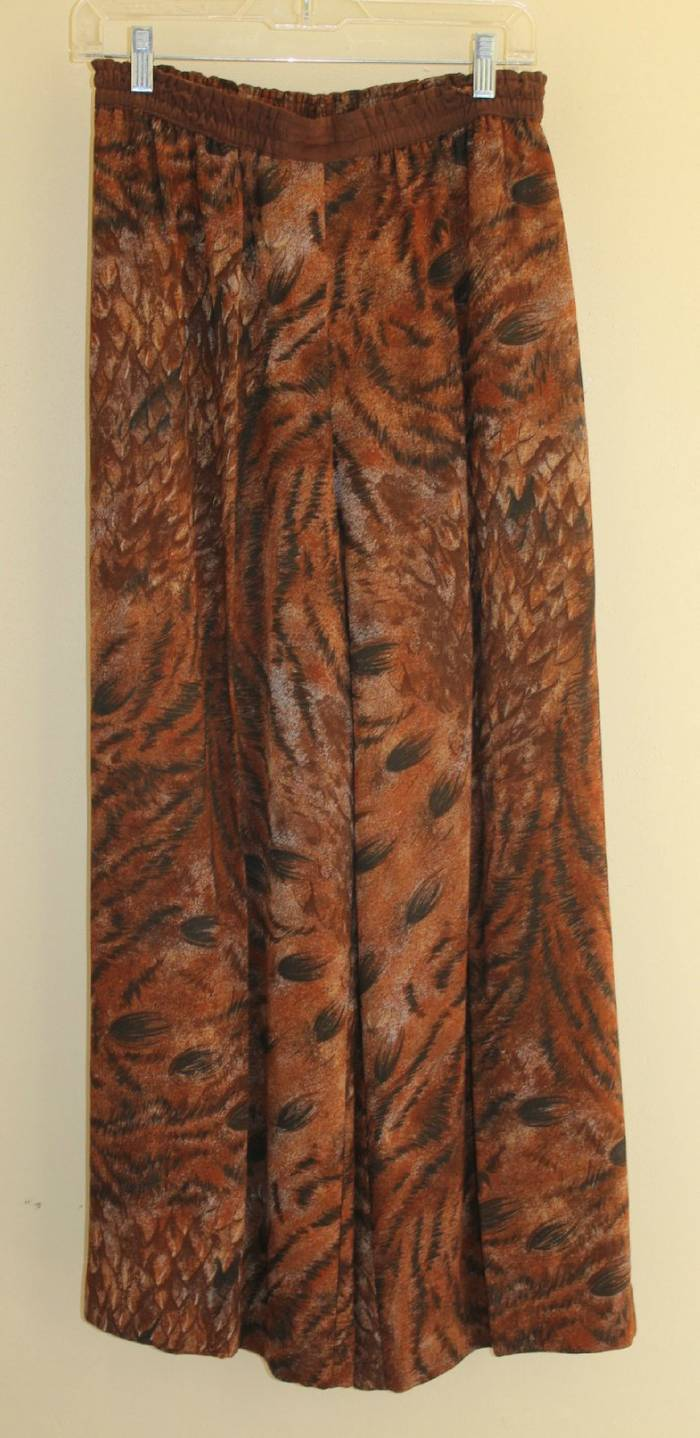 PLATINUM Dgoldthy Schoelen Brown Flowing Animal 80s Art-to-Wear Pants Sz 10