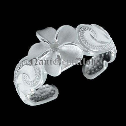 Hawaiian Sterling Silver Scroll Engraved 8mm Plumeria Flower Toe Ring Clear CZ
