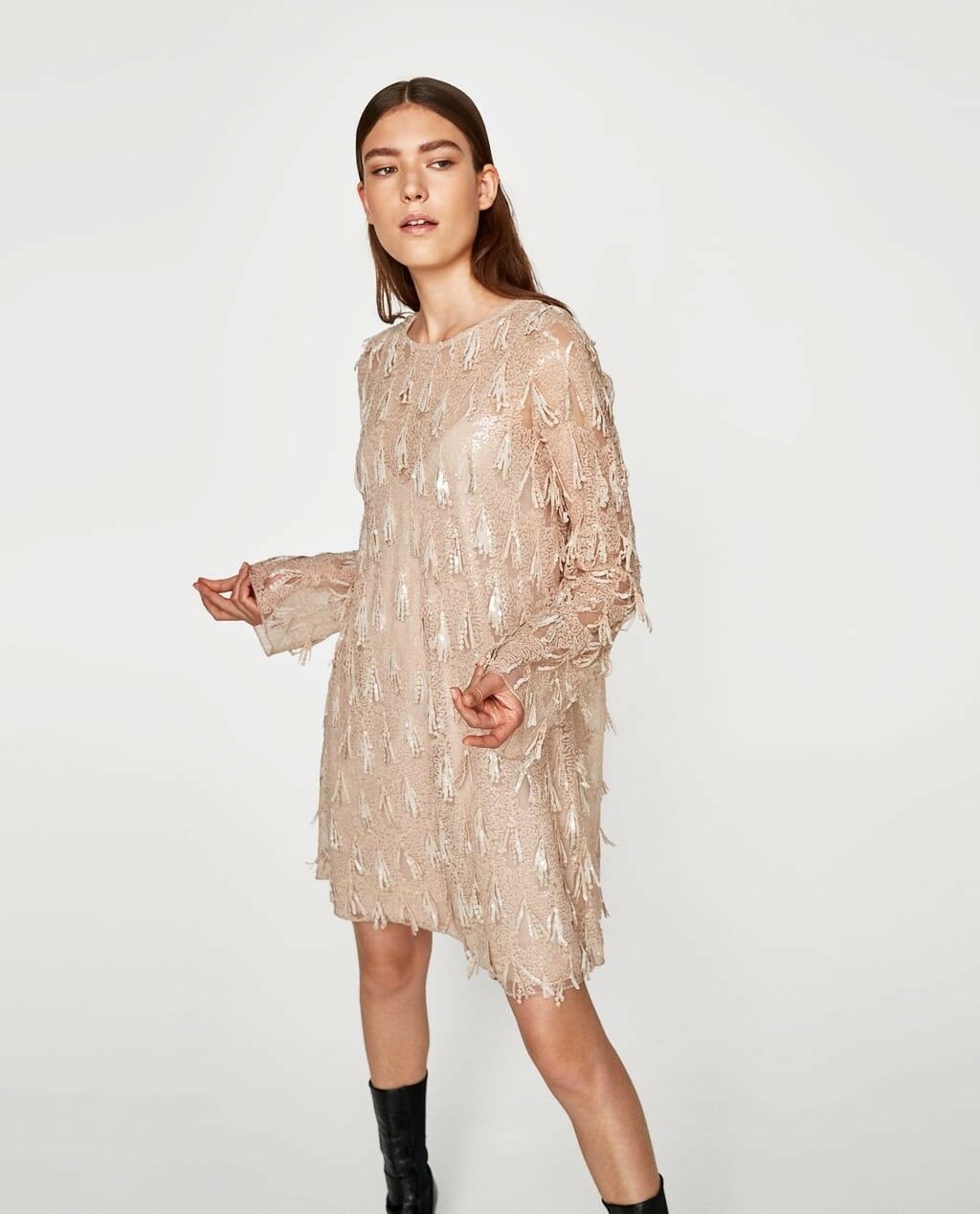 Zara damen Sequin Dress Pale Rosa Größe M NWT