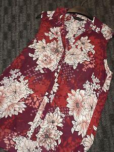 Burgundy-Multi-Floral-Sleeveless-Summer-Dorothy-Perkins-Top-Size-14