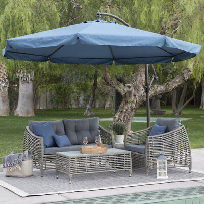 Bon 11u0027 Offset Blue Patio Detachable Netting Cantilever Umbrella Outdoor  Furniture
