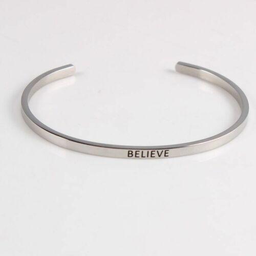 Inspirational Mantra Motivational disant Bracelet en Acier Inoxydable 316 L Manchette Ouverte