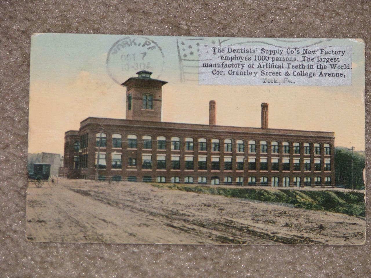 The Dentists` Supply Co`s Factory, York, Pa., 1914, used vintage card