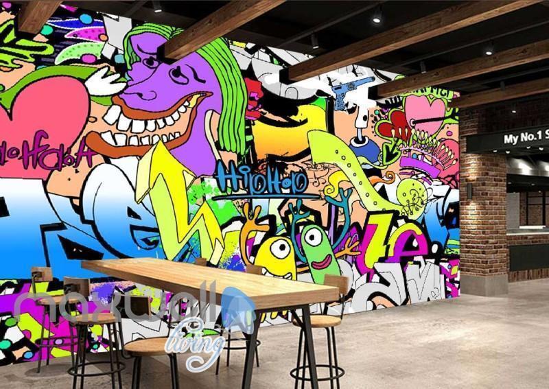 3D Graffiti Hiphop Abstract Street Art Wall Murals Wallpaper Decals Prints Decor
