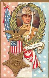 USA GAR SOLDIER MEMORIAL MILITARY HOLIDAY EMBOSSED PATRIOTIC POSTCARD 1909 *
