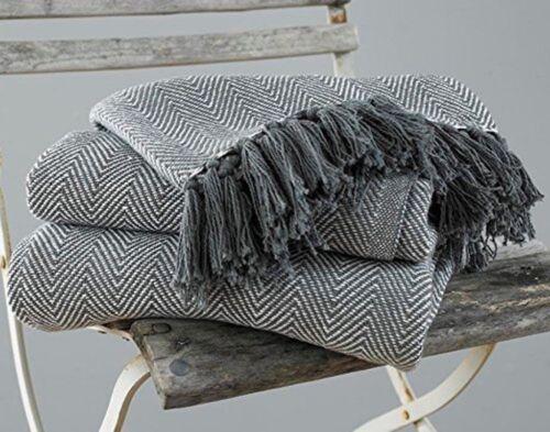 2 Tailles Chevron Coton barbu meubles-lit jette en gris et blanc