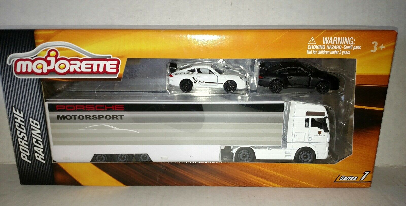 Majorette 1 59 Porsche 911 GT3 RS Team Racing Transporter Trailer 2 die-cast car