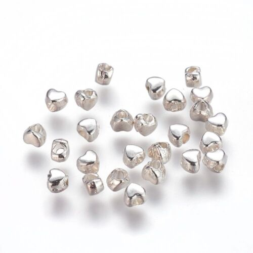 100 x Heart Silver Plated Metal Spacer Beads 4mm