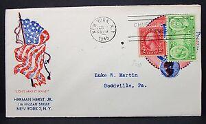 US-Patriotic-Cover-New-York-1945-Church-Street-Annex-Stamp-1c-2c-Letter-I-6399