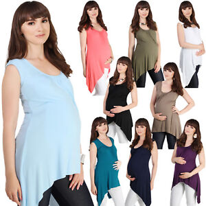 Women-Maternity-Sleeveless-Swing-T-Shirt-Pregnancy-Summer-Long-Vest-Top-Tee-Cami