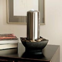 Akra Stainless Steel Indoor Tabletop Water Feature Ideal For Feng Sui