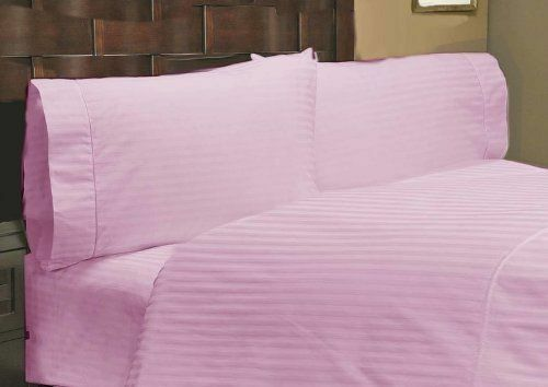 1 Fitted Sheet & 2 Pillow case Pink Stripe 100% Pima Cotton 1000 TC_