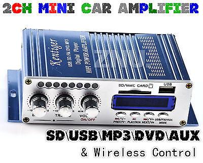 2CH Mini Digital Stereo Audio Amplifier AMP MP3 AUX FM Radio Remote DC 12V Car