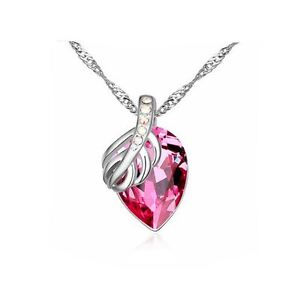 Women s Pendant Necklace Fruit Leaf Hot Pink Large Stone Silver ... a6680310f