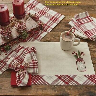 Peppermint Plaid Napkin Set//2 Red Ivory Light Gray Christmas Park Designs