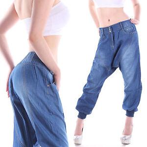 542f5e4792fd92 Das Bild wird geladen Damen-Jeans-Hose-Pluder-Boyfriend-Harem-Aladin-Pump-