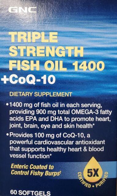 GNC Triple Strength Fish Oil 1400+ CoQ-10, 60 Softgels BEST BY 6/30/21  FREESHIP