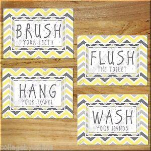 Yellow Gray Chevron Bathroom Bath Rules Wall Art Prints Decor Hang Wash Floss Ebay