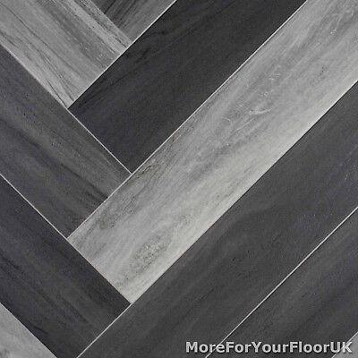 Grey Modern Parquet Wood Style Vinyl Flooring Kitchen