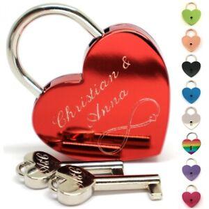 Liebesschloss Herz individuelle Gravur Farben Geschenkverpackung 2 Schlüssel