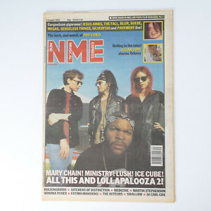 NME magazine 1 August 1992 Lolapalooza cover Mary Chain Ice Cubes Lush