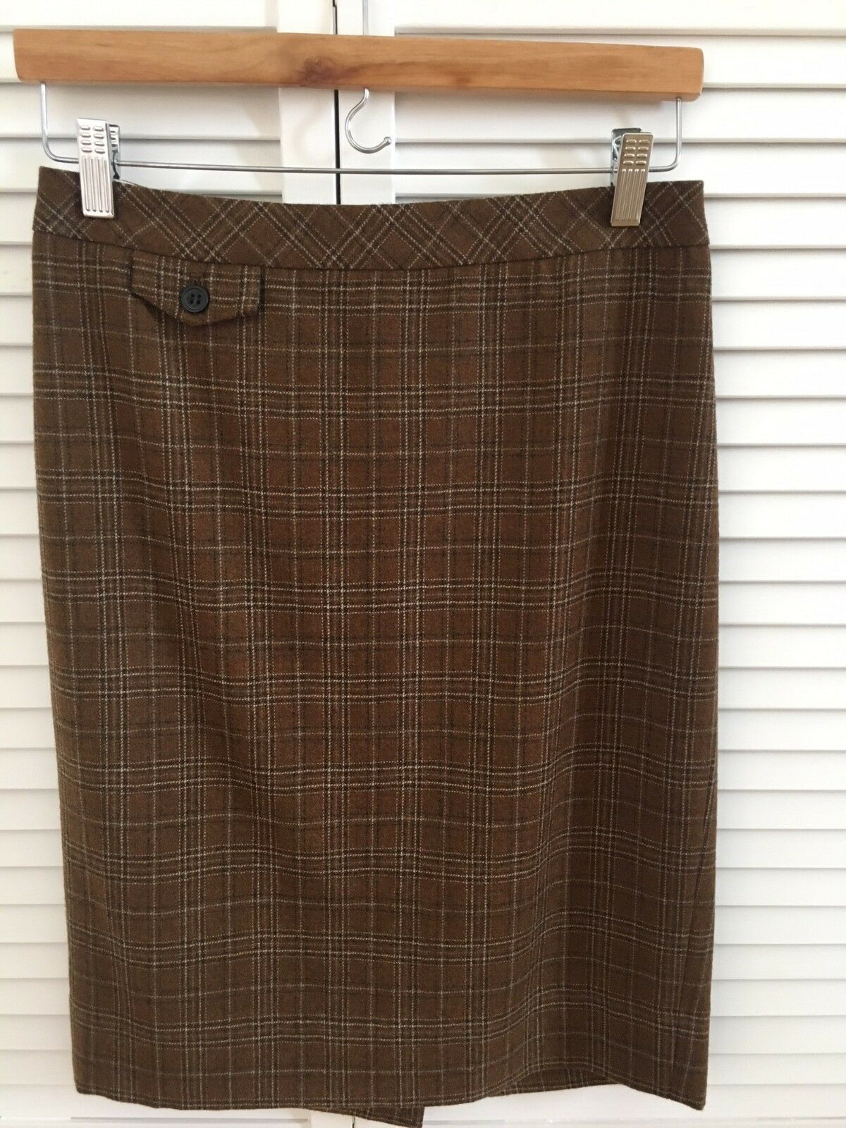 NWT J Crew No. 2 Pencil Skirt Brown Plaid 100% Wool Size 2