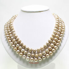 """8-8.5MM BEAUTIFUL CHAMPAGNE CULTURED PEARLS HAND KNOT ENDLESS NECKLACE 60"""" TPJ"""