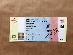 Barcelona-Olympics-Football-1992-Ticket-Signed-Alfonso-Perez