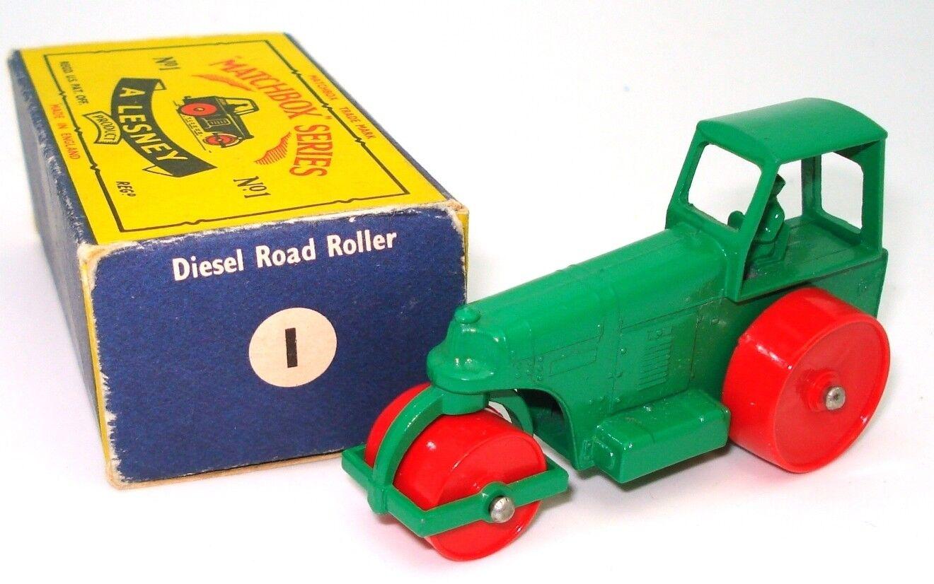 LESNEY MATCHBOX NO. 1D DIESEL ROAD ROLLER - MINT BOXED -  400 BOOK VALUE